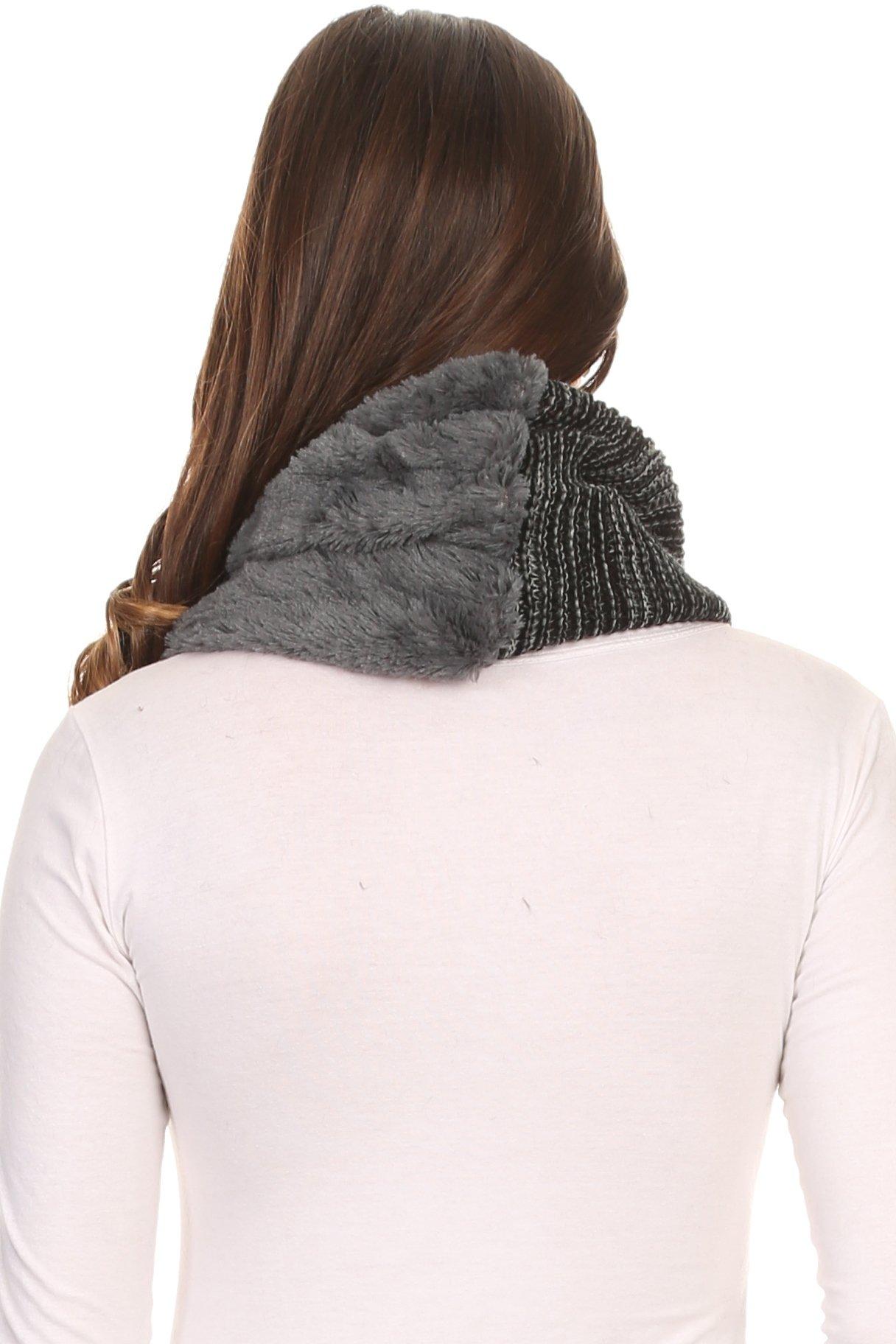 Sakkas 16107 - Sele Short Two Textured Faux Fur Ribbed Knit Mixed Designed Infinity Scarf - Grey - OS by Sakkas (Image #2)