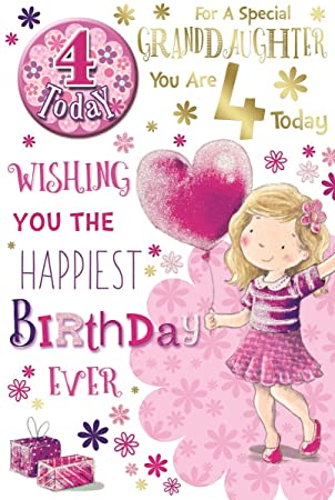Granddaughter 4th Birthday Card Badge