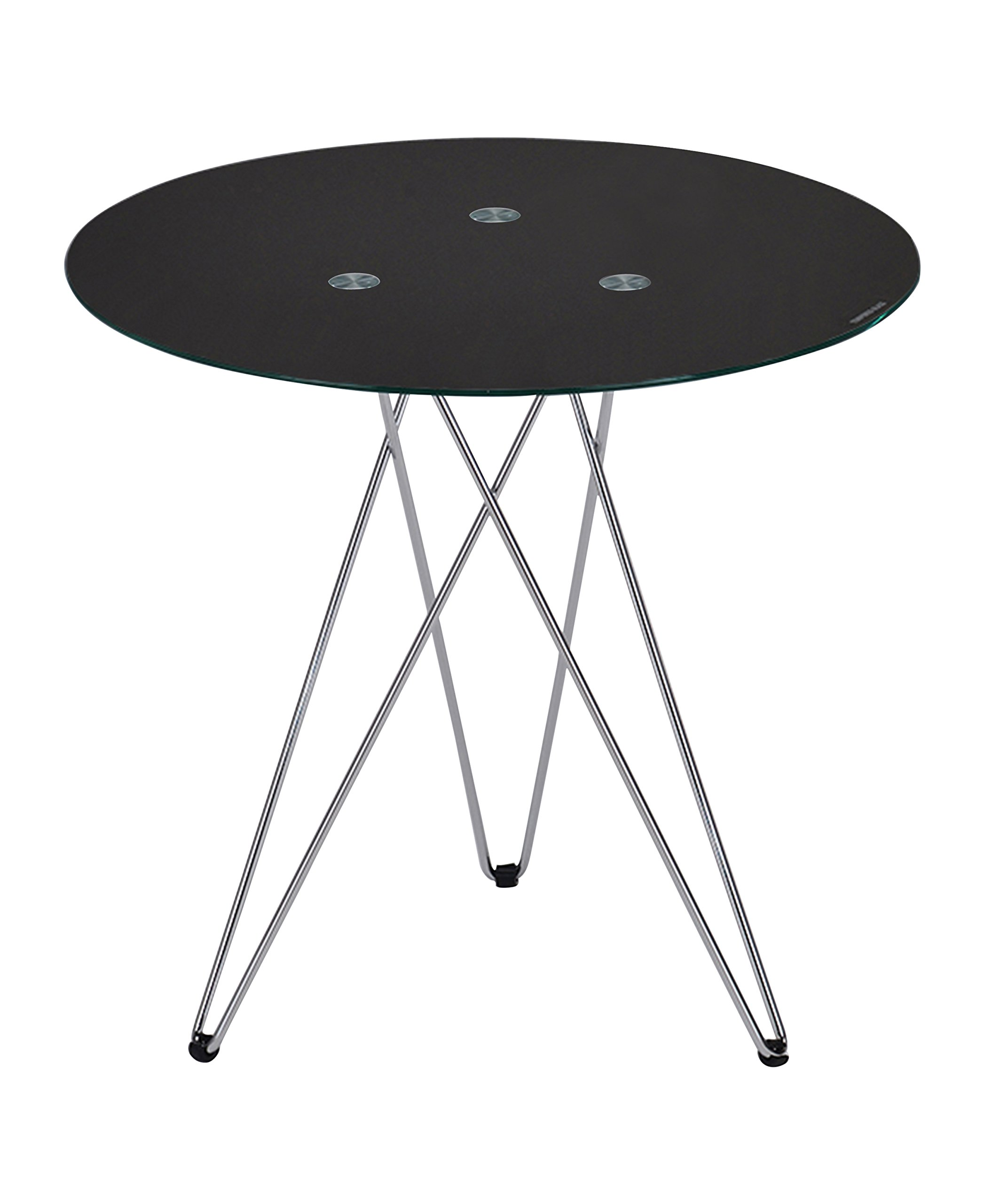 Kings Brand Leon Black Tempered Glass with Chrome Legs Round Side End Table - Kings Brand Leon Black Tempered Glass with Chrome Legs Round Side End Table. Add contemporary flare to any space when you decorate with this beautiful accent table. With a three-legged, chrome-finished metal stand and round glass tabletop, this table is an excellent complement to any room. - living-room-furniture, living-room, end-tables - 71HyPNkLI5L -