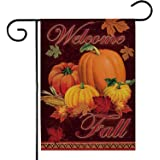 Deloky Fall Welcome Pumpkin Patch Garden Flag-Double-Sided Farmhouse Autumn Yard Burlap Banner,Flag for Fall,Thanksgiving Ind