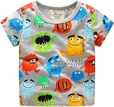 Camiseta de manga corta con cuello redondo de algodón para bebé ...