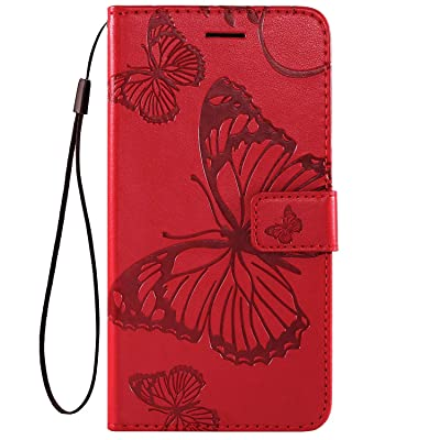 IKASEFU Compatible with MOTO E6 Play Case Emboss butterfly Pu Leather Wallet Strap Card Slots Shockproof Magnetic Stand Support Folio Flip Book Cover Protective Case,red: Musical Instruments