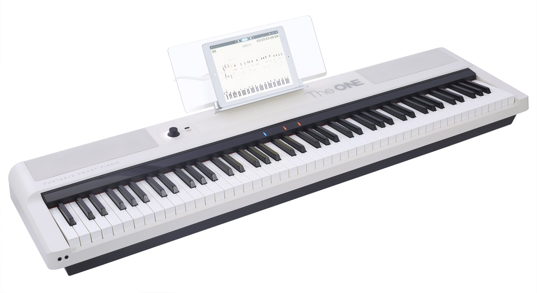 The ONE Smart Keyboard Pro, 88-Key Digital Piano Keyboard, Portable Digital Piano, Weighted Action Keys, White by The ONE Music Group