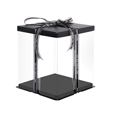 Transparent Gift Box with White Base and Lid 2 Pack Christmas Day New Year YOUNGTION 9.6x9.6x9.5 Large Cake PET Clear Box for Bakery Gift Box for Birthday