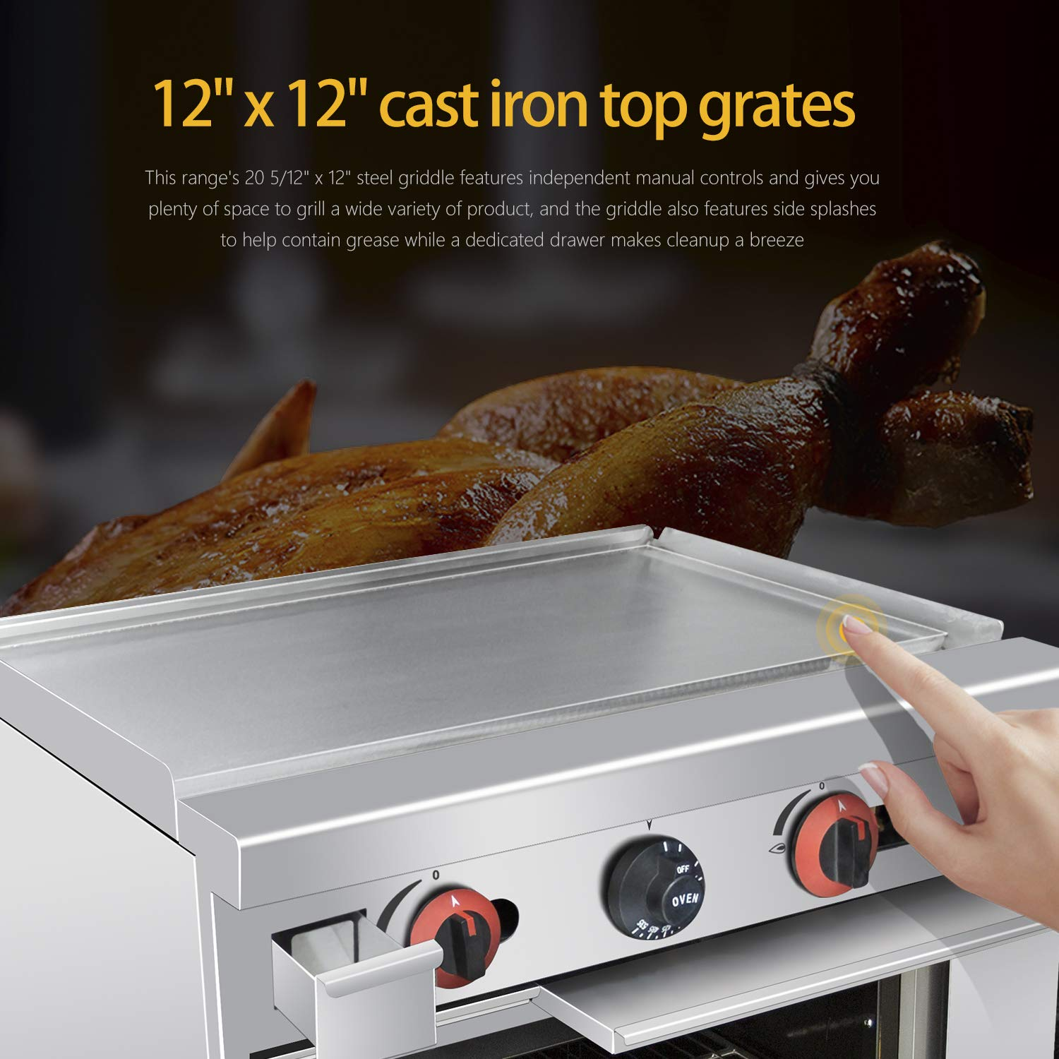 Commercial 24''Gas Range With Griddle and Standard Oven 72,000 BTU ...