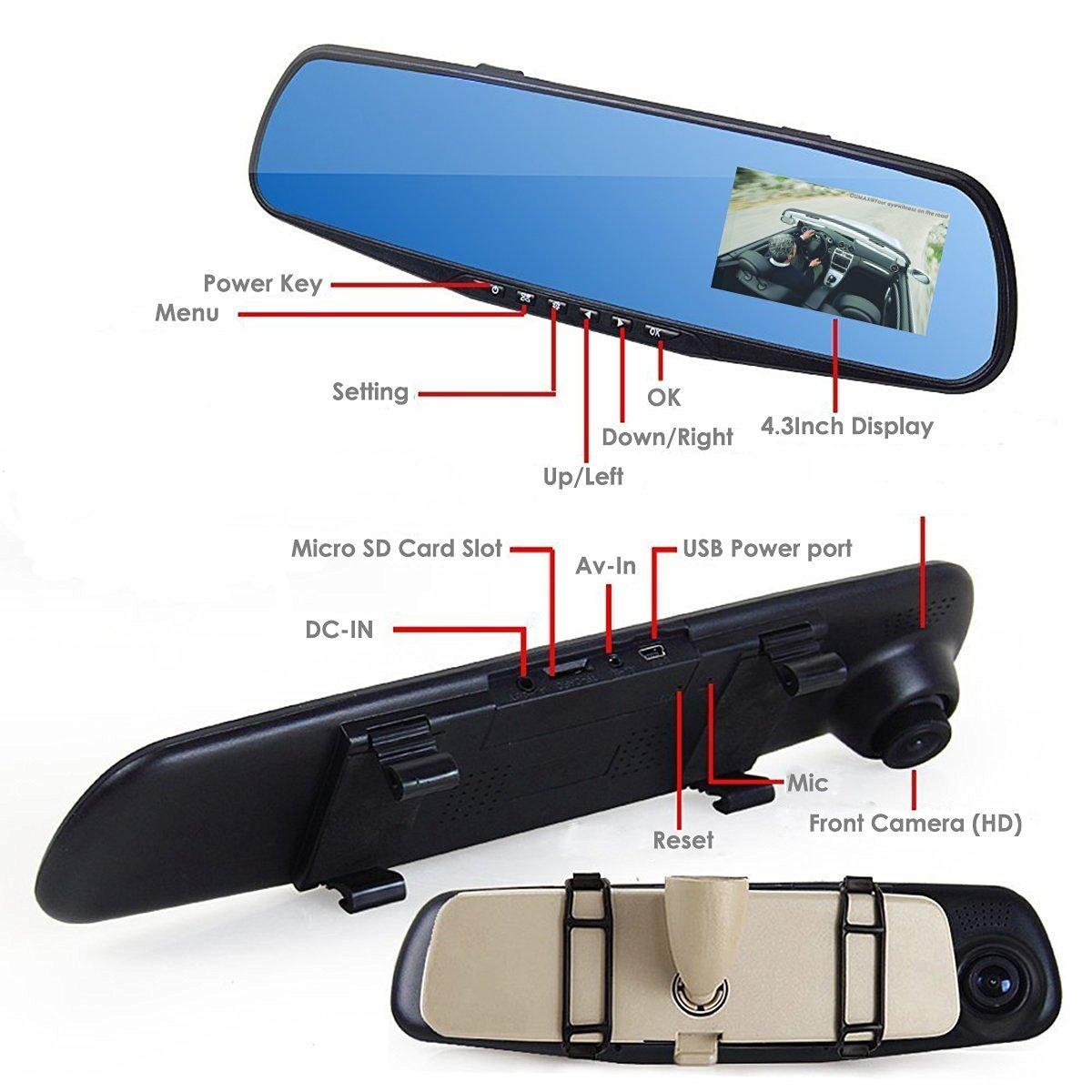 Inredning ok hyra lastbil : Amazon.com: 4.3 inch 1080P Dash Cam Dual Lens FHD Rearview Mirror ...