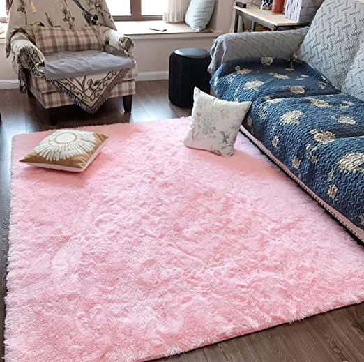 Amazon Com Fluffy Soft Kids Room Rug Baby Nursery Decor Anti Skid Large Fuzzy Shag Fur Area Rugs Modern Indoor Home Living Room Floor Carpet For Children Boys Girls Bedroom Rugs Pink 4 X