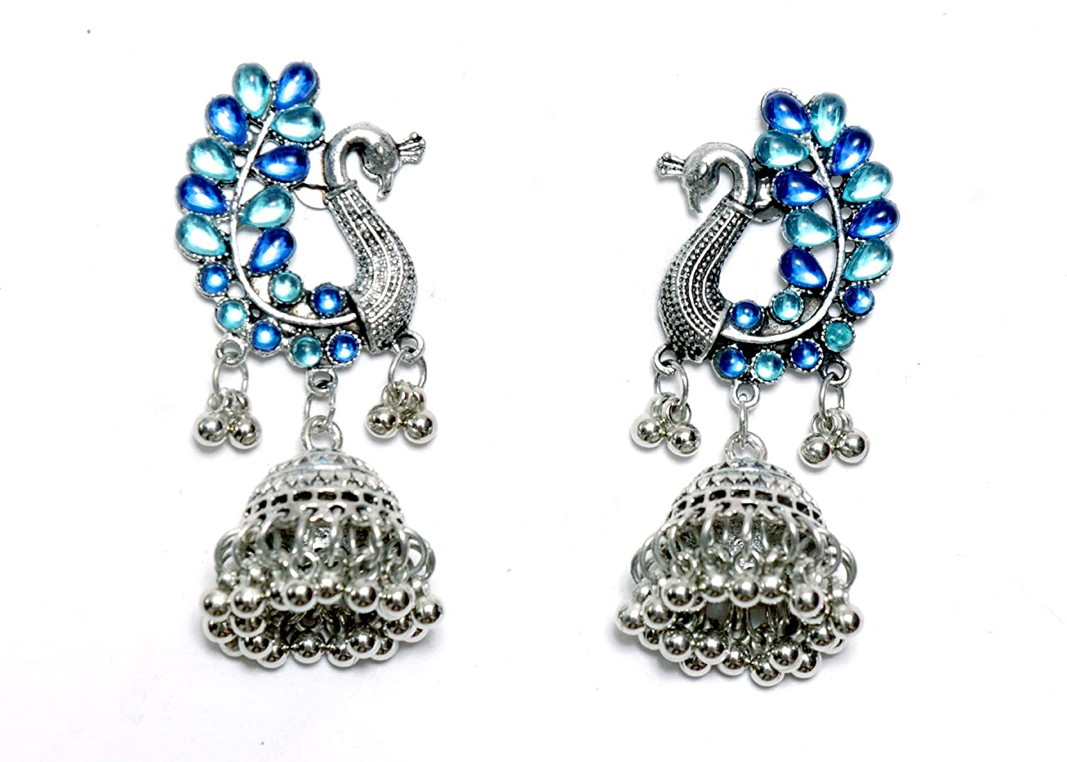Swan shaped Oxidized Silver Jhumki Earings Indian Traditional Jewellery for Stylish Women and Girls by SP Jewels