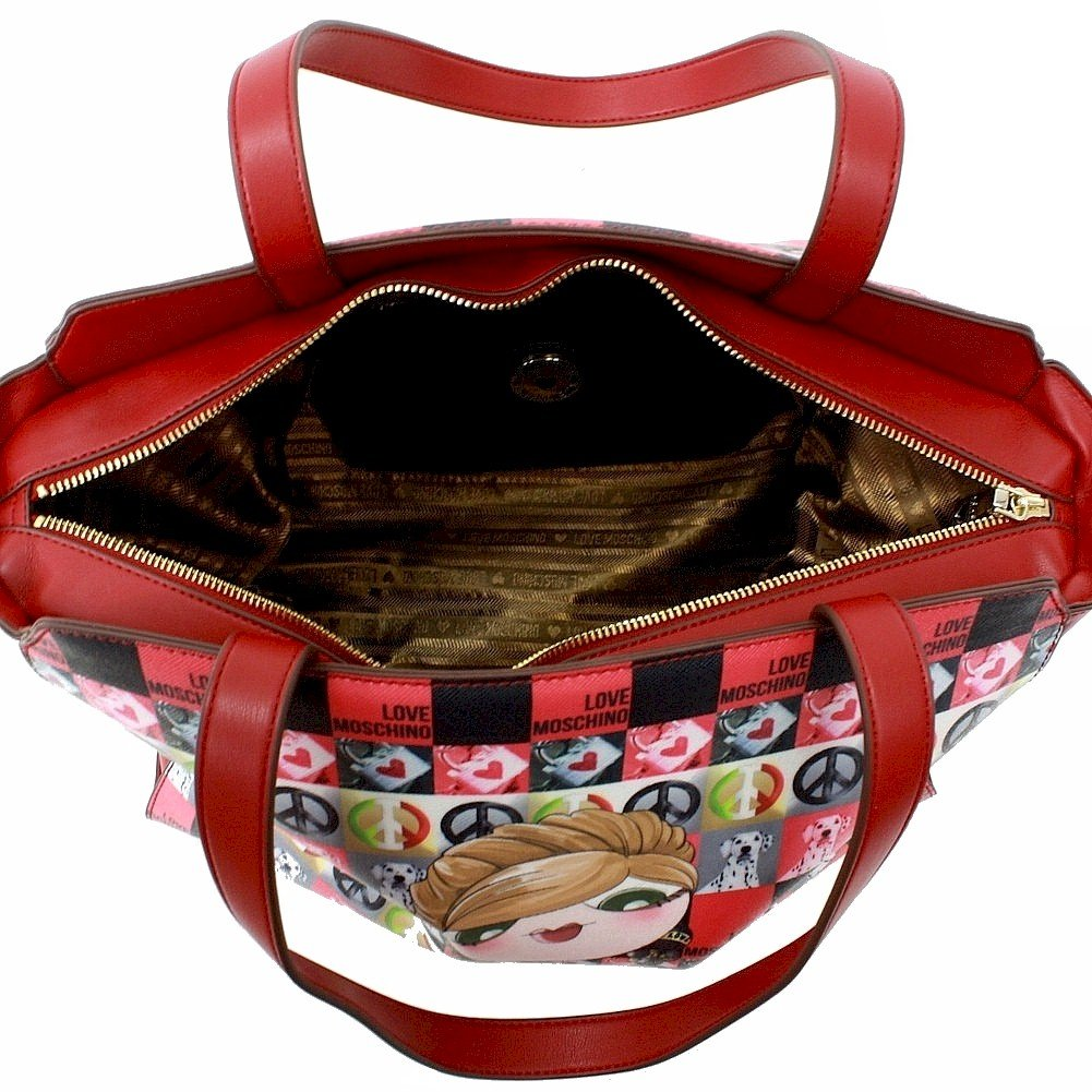 Love Moschino Women's Red Digital Print Double Handle Tote Handbag by Love Moschino (Image #5)