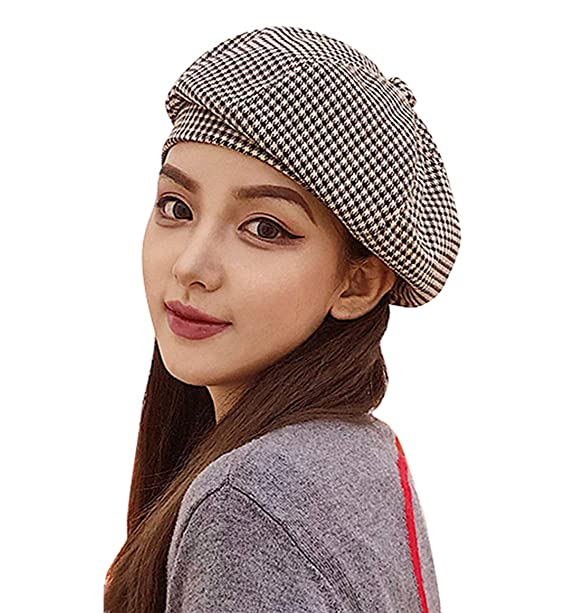 fe7fd1905aa Clecibor Cotton Blend Houndstooth Print Beret Elastic French Style Painter Hat  Cap