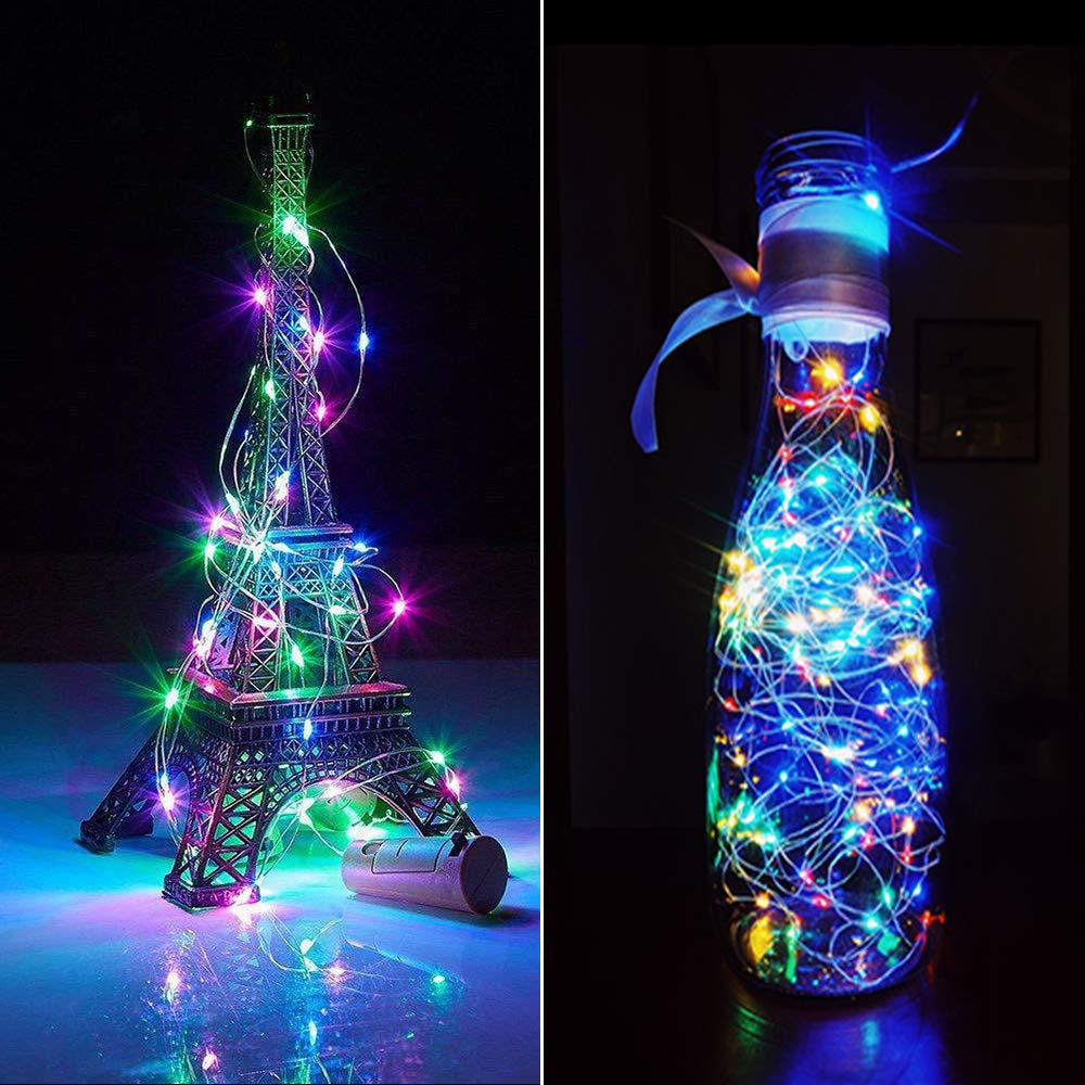 Wine Bottle Lights with Cork,Cshare 10 Pack 2M 20 LED Battery Operated LED Cork Shape Fairy Mini String Lights for DIY Halloween Party Wedding Christmas Bedroom Indoor Outdoor Decoration (Multi-color)