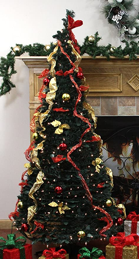 rich pacific 6 pre lit pop up decorated redgold artificial christmas tree