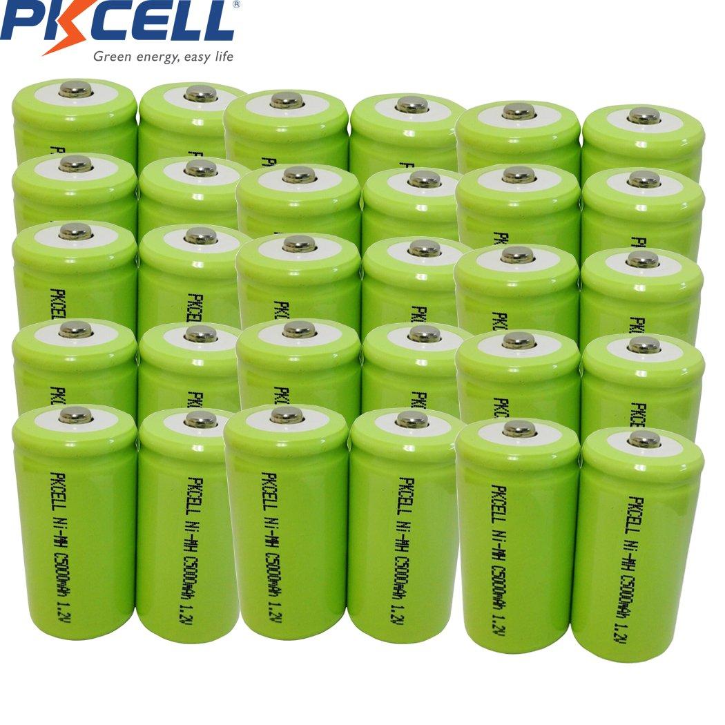 1.2V C 5000mAh NIMH Rechargeable Battery Button Top 30Pcs