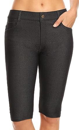 Confident Girls Womens New Size 8 10 12 New Stretch Denim Knee Length Black Shorts Ladies Women's Clothing