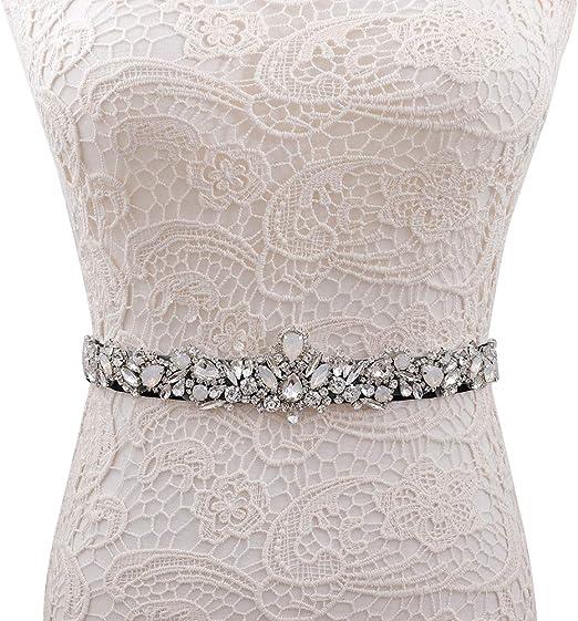 Yanstar Silver Bridal Wedding Belt Crystal Rhinestone Sash Wedding