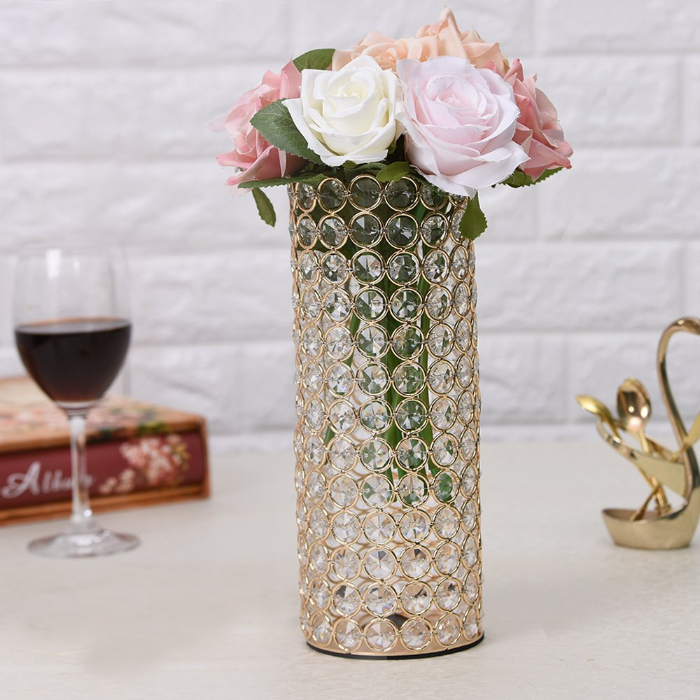 Amazon vincigant gold decorative crystal cylinder vase for amazon vincigant gold decorative crystal cylinder vase for new year decor table centerpieces valentines day gifts home kitchen reviewsmspy
