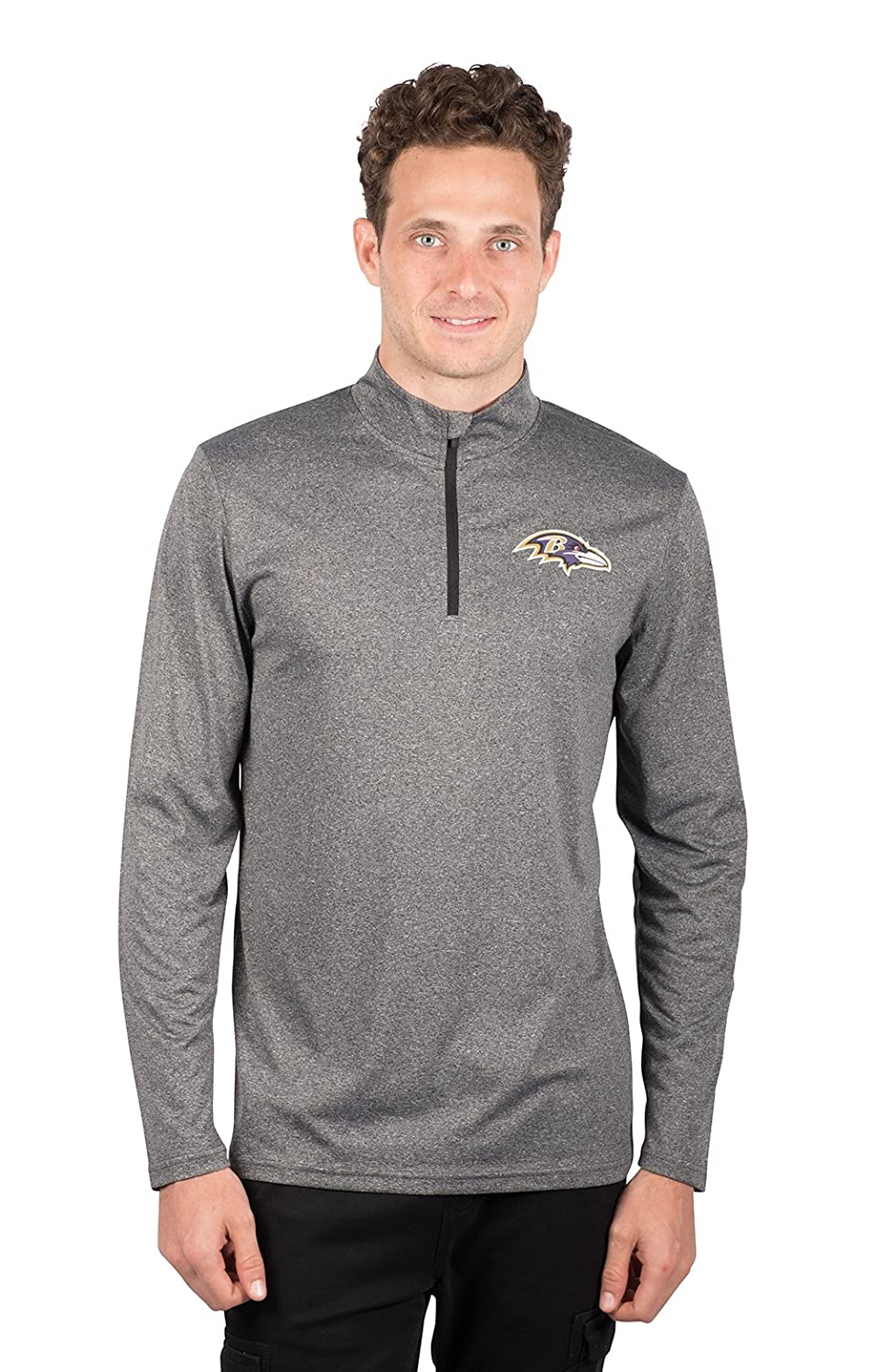Heather Charcoal 18 NFL Baltimore Ravens Ultra Game Mens LS POLY Quarter ZIP TEE Small