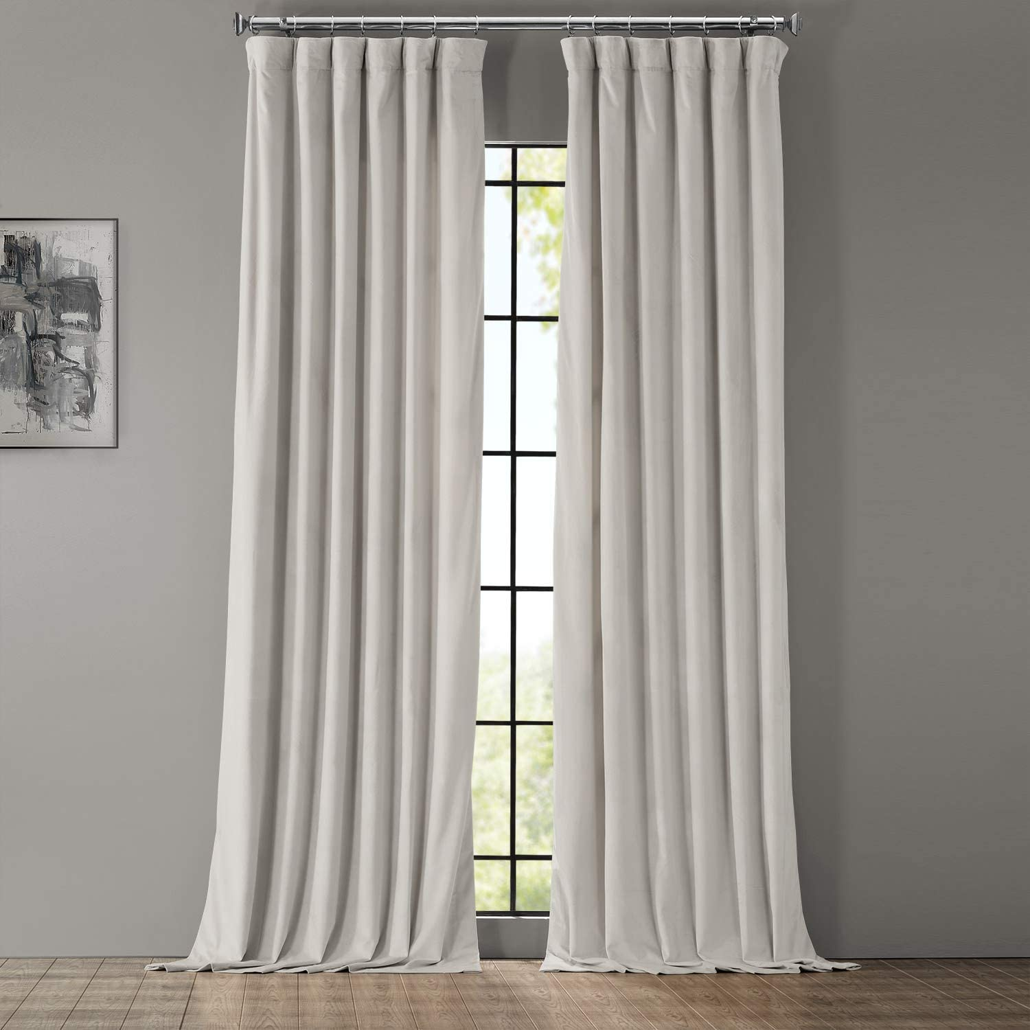 HPD Half Price Drapes VPYC-161204-108 Heritage Plush Velvet Curtain (1 Panel), 50 X 108, Light Beige