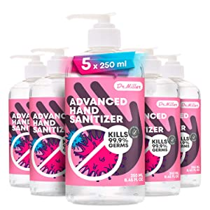 Hand Sani-tizer – Pack of 5 (8.45 fl.oz) 75% – Waterless Clean Advanced Disposable and Aloe Gel No Wash