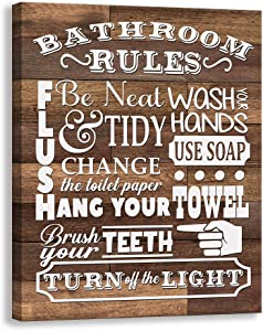 Kas Home Bathroom Canvas Wall Art | Rustic Bathroom Funny Rules Prints Signs Framed | Wood Background Bathroom Laundry Room Decor (12 x 15 inch, Bathroom Rules - 01)