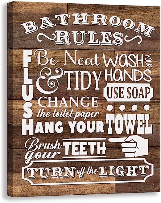 Bathroom Laundry Room Decor Kas Home Vintage Bath Canvas Wall Art Rustic Bathroom Rules Prints Signs Framed 6 X 12 Inch Bathroom Rules Posters Prints Home Kitchen