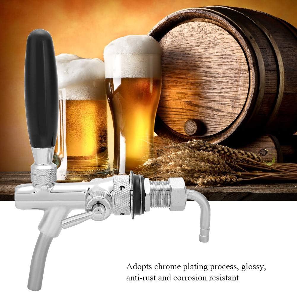Grifo de Cerveza Ajustable, Acero Inoxidable Cromado G5/8 Dispensador de Cerveza Ajustable Grifo del Grifo para el Grifo del Fregadero de la Barra del hogar Grifo de Cerveza Ajustable(Plata)