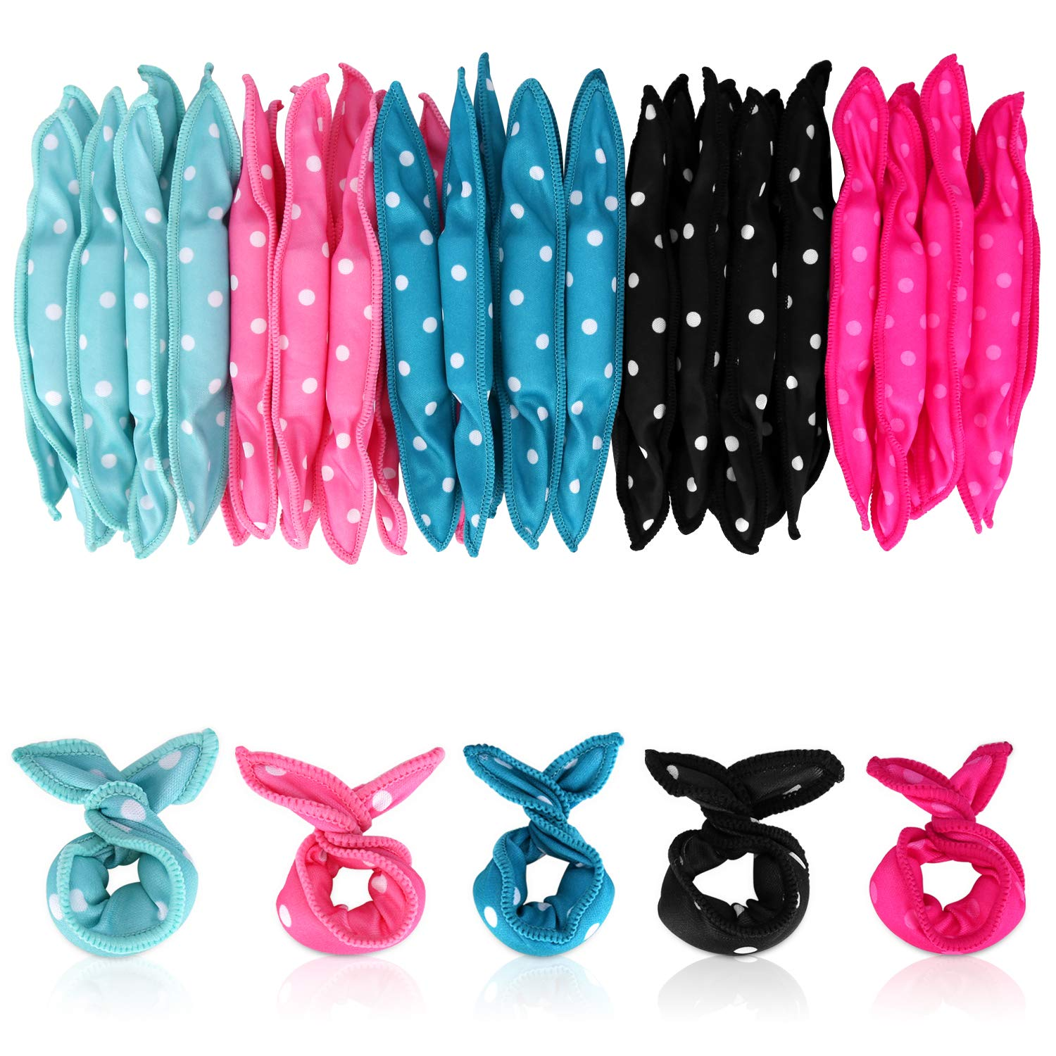 Locisne 40pcs Flexible Foam Sponge Hair Rollers, No Heat Hair Curlers Magic Pillow Soft Hair Rollers Spiral Curls Set Hair Care DIY Hair Styling Rollers Comfy to Sleep on (5 Colors) by Locisne