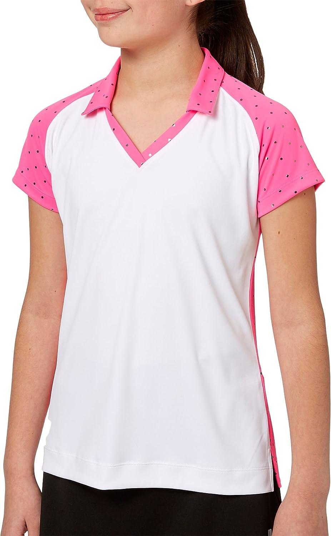Slazengerガールズ'箔ドットゴルフポロ Large Pink Bazooka B07FQMV8XT