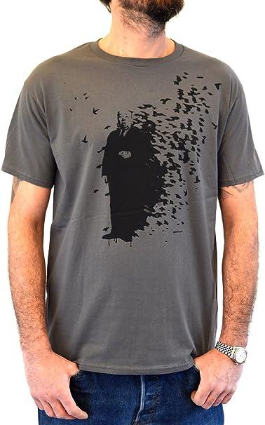 Faces T-Shirt Hombre Street Art Banksy Alfred Hitchcock and The Bird Impresión del Manual de la Pantalla de Agua