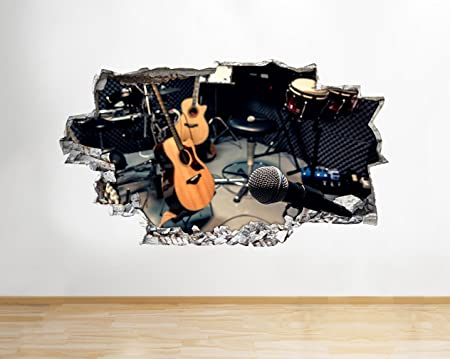 Q231w music guitar studio band smashed wall decal 3d art stickers vinyl roomkids bedroom baby nursery