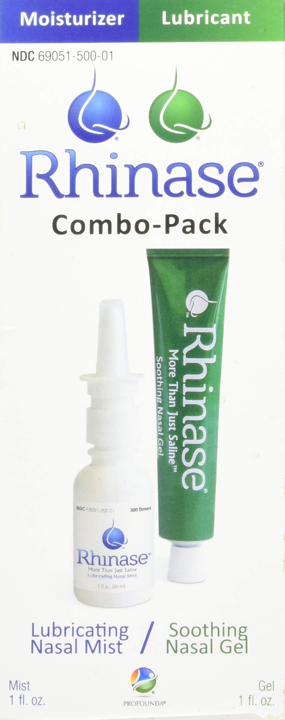 Rhinase (Nasal Gel 1 oz and Saline Nasal Spray 1 oz) Combo Pack for Dry Nose Sinus, Allergy and to Prevent Nosebleeds Caused by Nasal Dryness by Rhinase