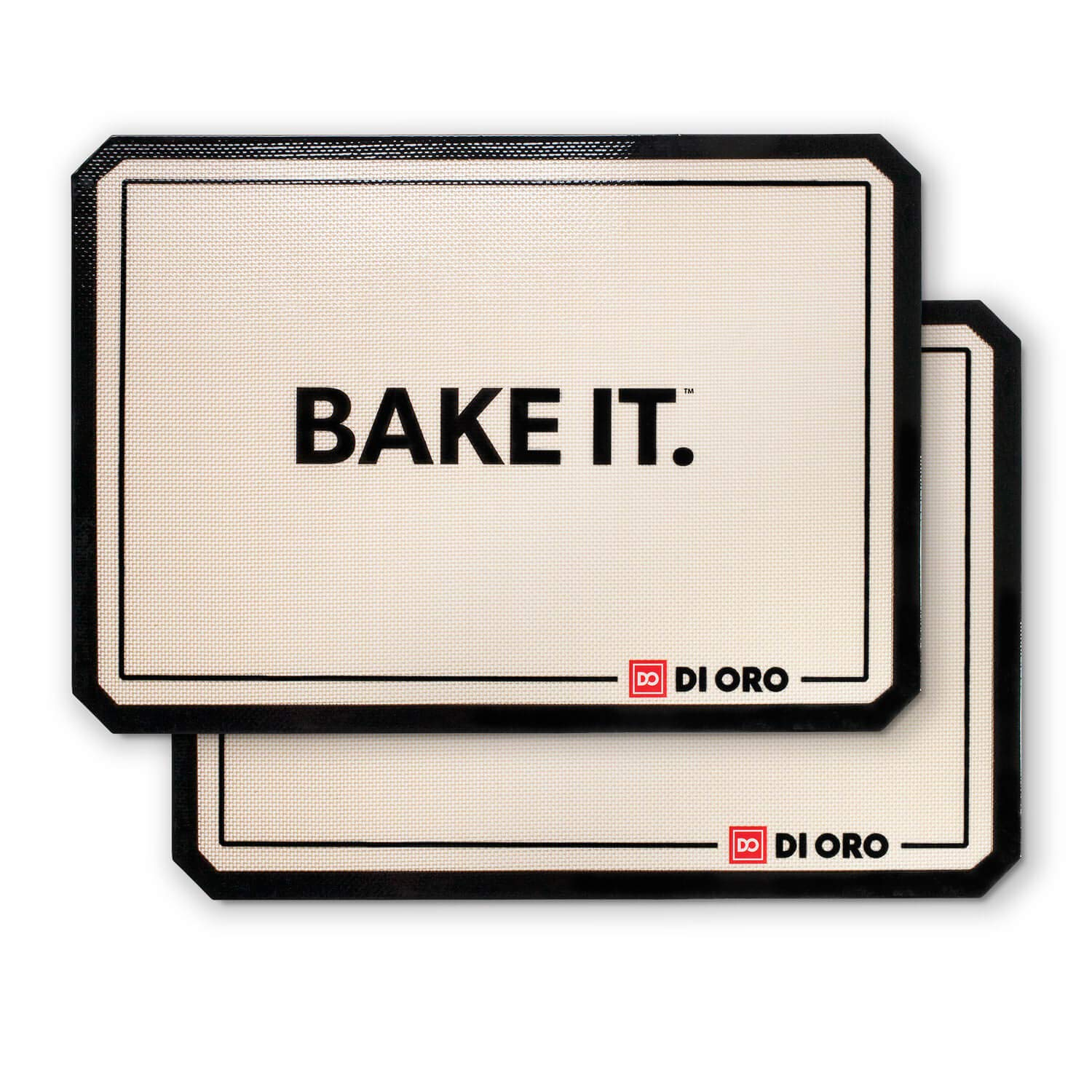 "DI ORO - Pro Silicone Baking Mat - Nonstick Silicone Sheets - 480° Heat Resistant - 16 1/2""× 11 5/8"" Half Sheet - 1.0mm Thick Pro Grade BPA Free Silicone - A Lifetime of Joyful Cooking - 2-Pack"