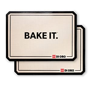 """DI ORO - Pro Silicone Baking Mat - Nonstick Silicone Sheets - 480° Heat Resistant - 16 1/2""""× 11 5/8"""" Half Sheet - 1.0mm Thick Pro Grade BPA Free Silicone - A Lifetime of Joyful Cooking - 2-Pack"""