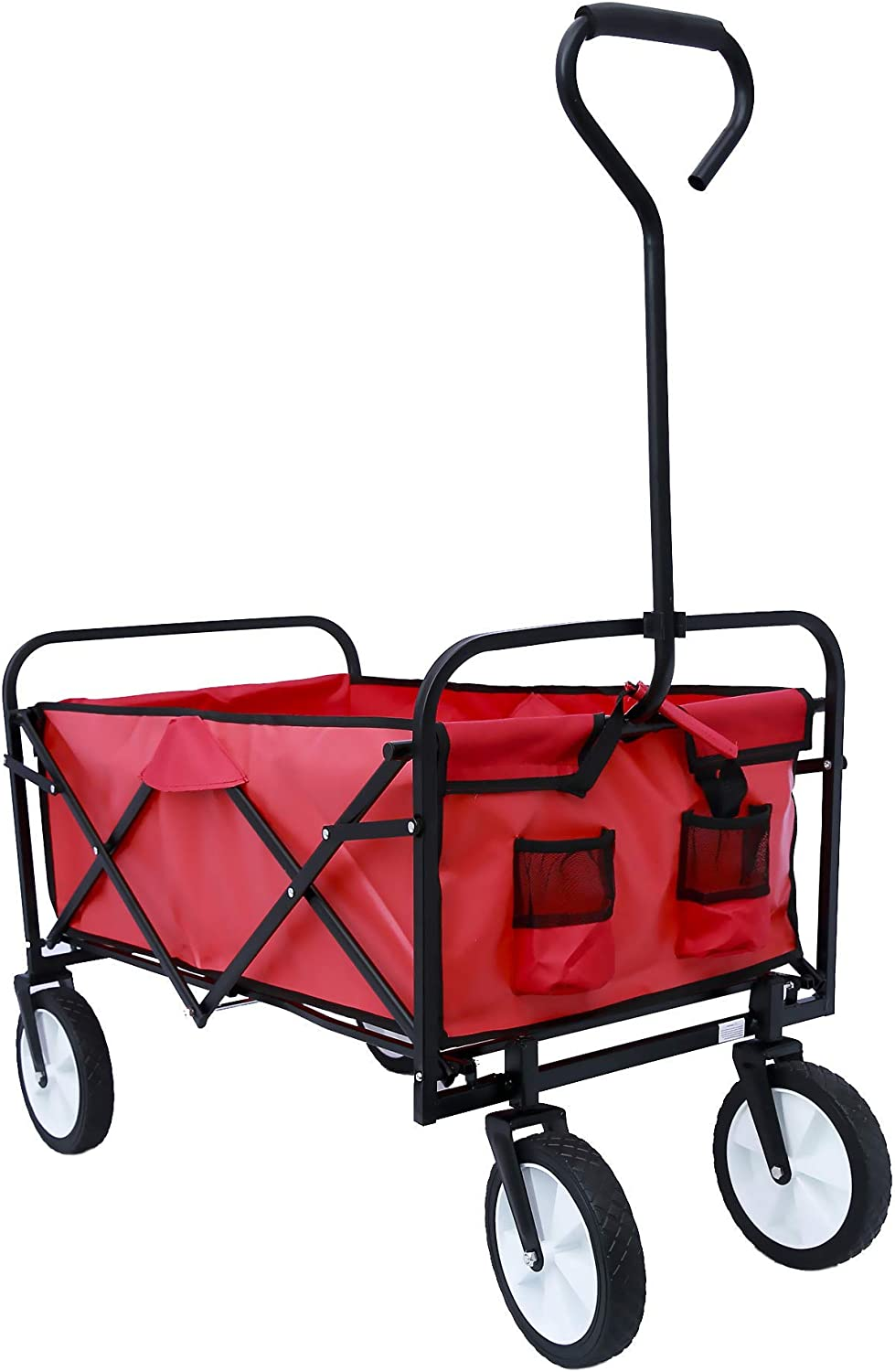 ALI VIRGO Collapsible Wagon Folding Camping Outdoor Garden Shopping Beach Heavy Duty Utility Carts with All-Terrain Wheels, Red