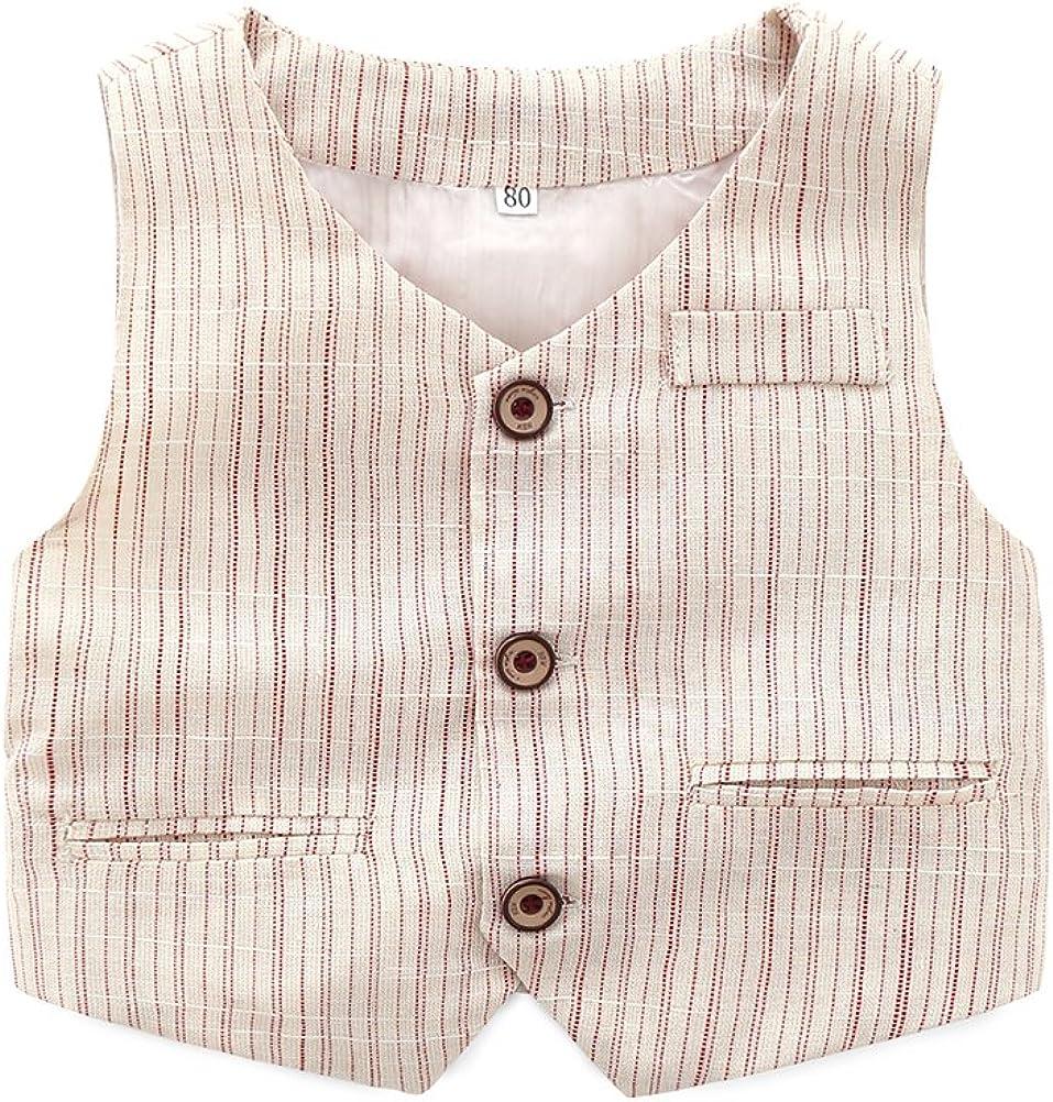 Vest and Striped Pants Abolai Infant Baby Kid Boy 3 Piece Vest Set Formal Wear Shirt