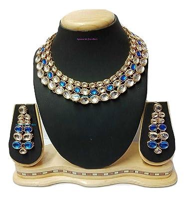 c2864cb610 Apsara Art Jewellery Antique bollywood stylish new arrival rakhi Exclusive  Stylish grand blue and white glass