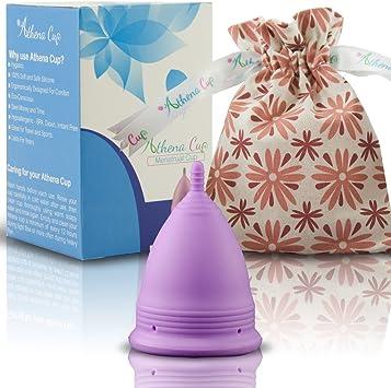 Athena Copa Menstrual – La copa menstrual más recomendada - Incluye una bolsa de regalo - Talla 1, Violeta liso - ¡Ausencia de pérdidas garantizada!