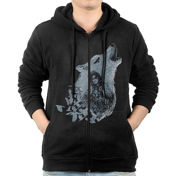 Hombre de Jon nieve Juego de Tronos lobo sudadera con capucha zip-front - negro - : Amazon.es: Ropa y accesorios