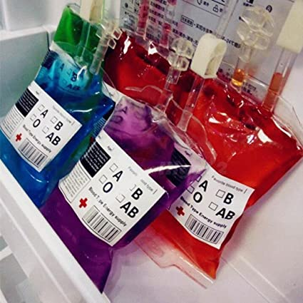 Lote de 5 bolsas de sangre de imitación reutilizable HKFV para Halloween, divertida