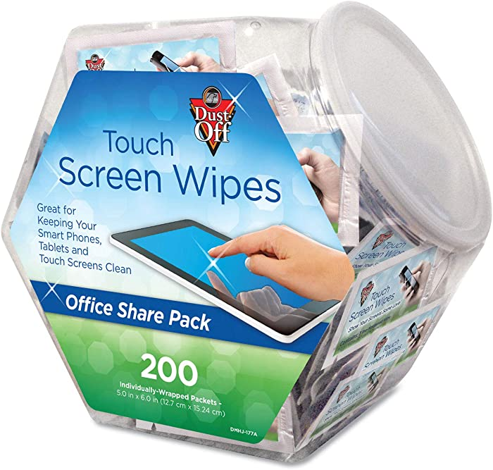 DUSTOFF DMHJ Touch Screen Wipes, 5 x 6, 200 Individual Foil Packets