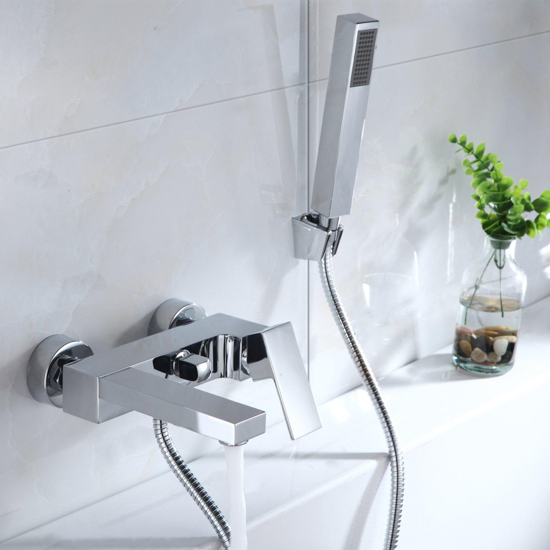 Bad Wannenarmatur Einhebel Wannenmischer Armatur Wasserhahn Duscharmatur mit Handbrause für Bad Amazon Baumarkt