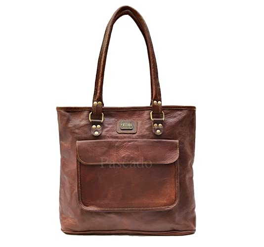 c3b3c0f7c0e742 Amazon.com: PASCADO Women top handle leather work tote purse shoulder  Vintage dark brown soft bag 15 inch with zipper: Handmade
