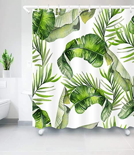 Impermeabile Antimuffa,Pianta Giungla Tropicale Tenda da Bagno Antibatterica Lavabile 180 x 180 cm 100/% Polyester YONG-SHENG Tende da Doccia Foglie di Banana