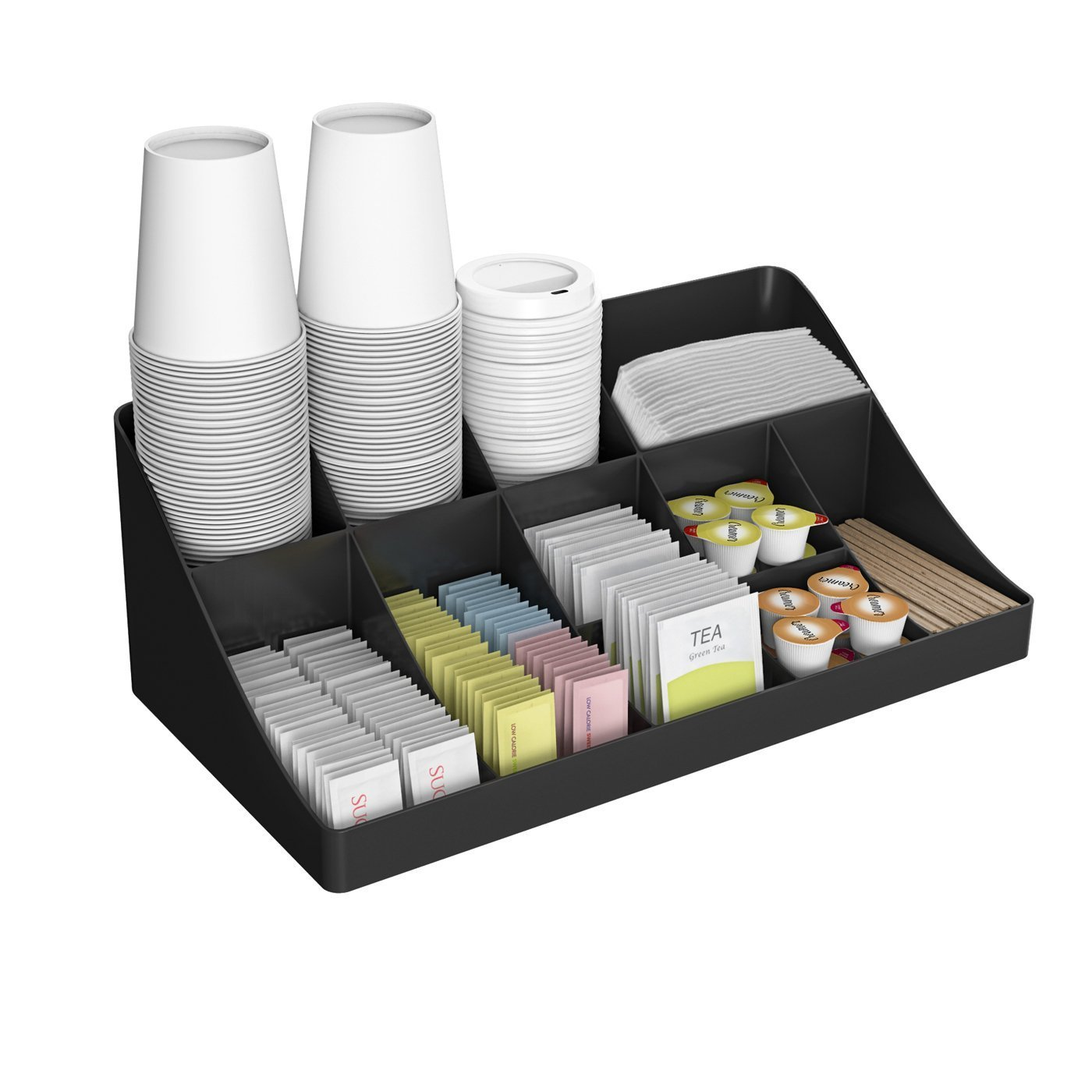 Mind Reader 11 Compartment Breakroom Coffee Condiment Organizer, Black(Black organizer 11 compartments)
