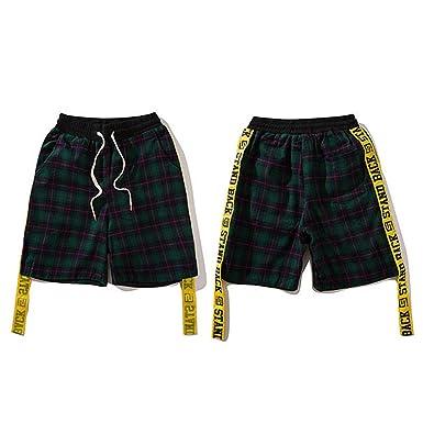 7618815d Henraly Mens Hip Hop Sweatpant Jogger Short Streetwear Casual Checkered Swag  Ribbon Short Elastic Waist New