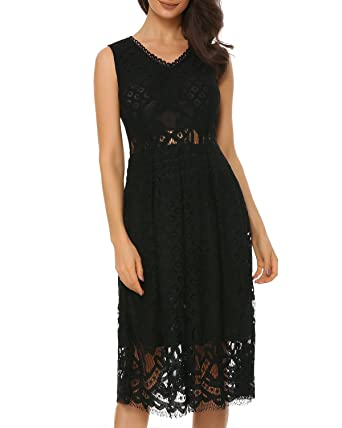 Mixfeer Womens V-Neck Vintage Floral Lace Sleeveless Cocktail Party Midi Dress