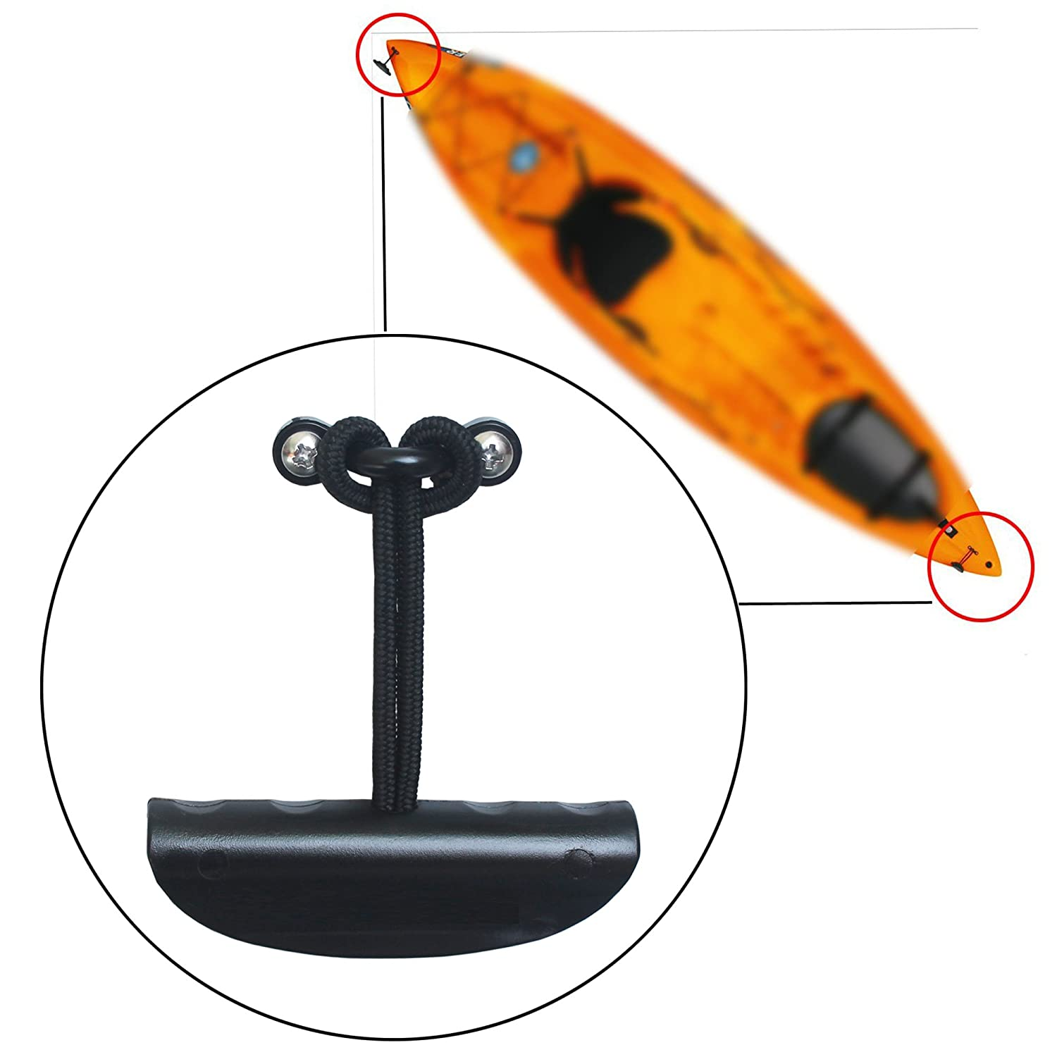 YYST Lot 2 Kayak Carry Handle Pull Handle T-handle with Cord and Pad Eyes Yi Ya Su