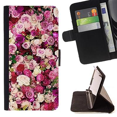 FJCases Rosas Rojas Amor Flor Carcasa Funda Billetera con Ranuras para Tarjetas y Soporte Plegable para Samsung Galaxy S9