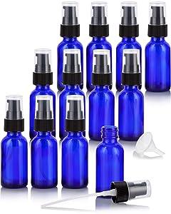 1 oz / 30 ml Cobalt Blue Glass Boston Round Bottle with Black Treatment Pump (12 Pack) + Funnel