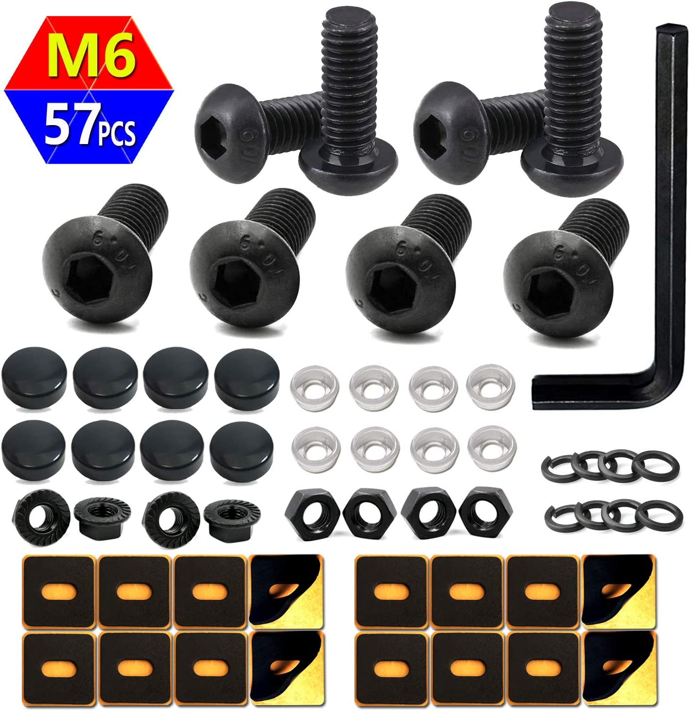 Anti-Theft *BLACK NICKEL* Security Screws for GMC FRONT /& REAR License Plate